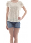 Pepe Jeans T-Shirt donna panna in tessuto lavorato PL502818 BARBIE