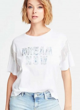 "Guess Donna T-Shirt ""DREAM NOW"" maniche con strass W0GI76JA900"