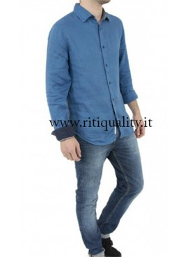 Camicia Uomo Tommy Hilfiger in lino avion DM0DM02287