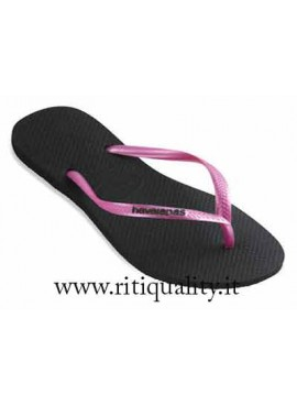 Infradito donna Havaianas slim logo pop up nero rosa