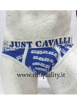 Slip Just Cavalli blu con bordo bianco
